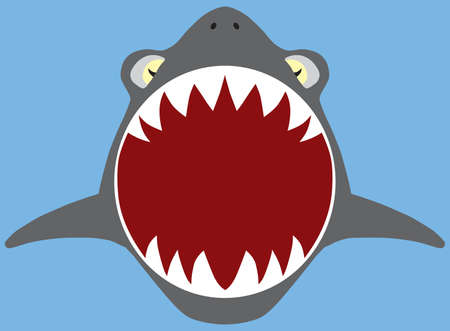 A flat vector shark with open mouth is coming toward the viewer