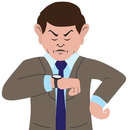 An annoyed cartoon businessman is glaring at his watch Ilustrace