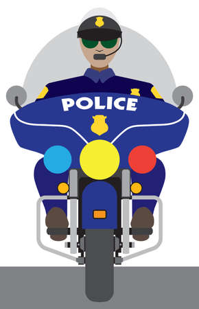 a flat vector motorcycle cop is riding toward the viewer Ilustrace