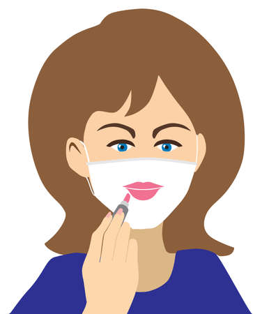 A pretty young woman is preparing for a safe date by applying lipstick to her face mask