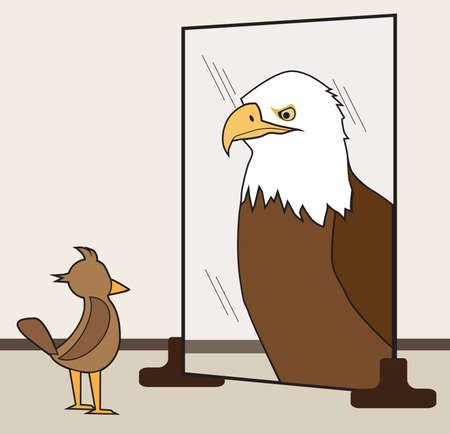 A small ordinary bird sees himself as a large bald eagle in the mirror Ilustrace