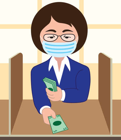A flat vector bank teller with a mask is doing her job