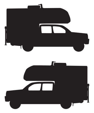 A profile view of both sides in silhouette of a pickup with a camper on top