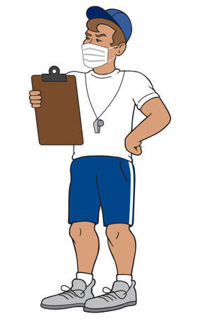 A cartoon school athletic coach is holding a clipboard and wearing a face mask
