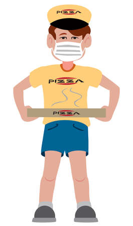 A cartoon delivery guy in a protective mask is delivering a pizza Ilustrace