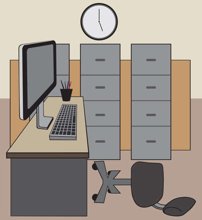 An empty office with a chair tipped over because the worker left in a hurry Ilustrace