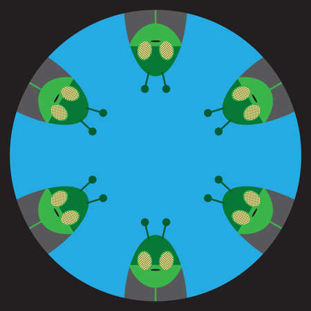 Six flat vector space aliens are looking down a hole Ilustrace