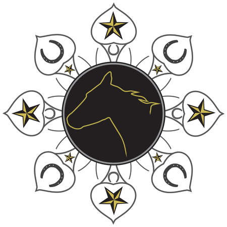 A design featuring western themed elements such as horses, stars and horseshoes