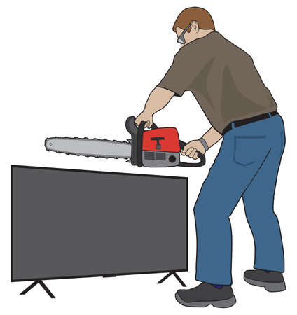 A man who is fed up with what is on his TV is cutting it up with a chainsaw