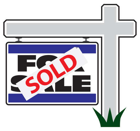 A for sale realty sign has a sold sticker applied over the original