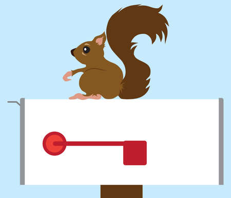 A flat vector cartoon squirrel is resting on a mailbox Ilustrace