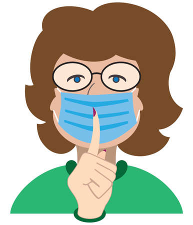 A flat vector librarian is wearing a face mask and admonishing patrons to be quiet