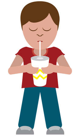 A young flat vector cartoon boy is enjoying a large beverage