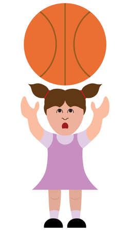 A little cartoon girl is intimidated by the large basketball she is trying to catch Ilustrace