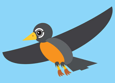 A colorful flat vector cartoon robin is flying through the sky