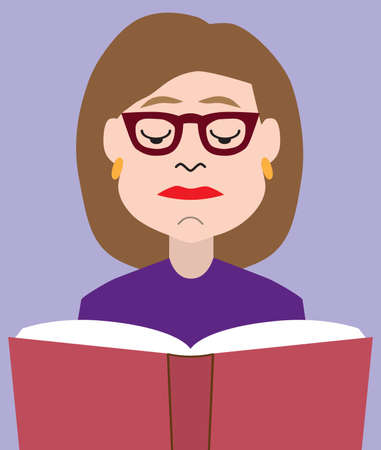 A flat vector cartoon woman with glasses is reading a book