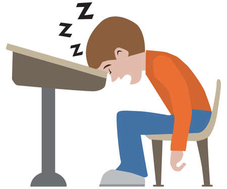 A young cartoon student has dozed off at his desk