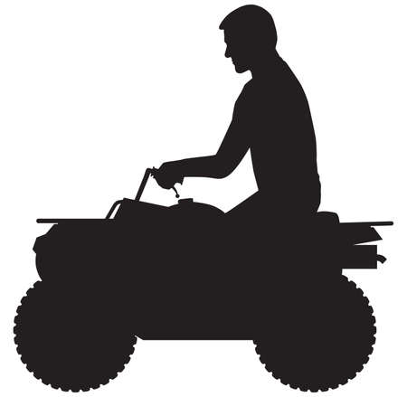 A man is taking a ride on an all terrain vehicle in silhouette Фото со стока - 166369523