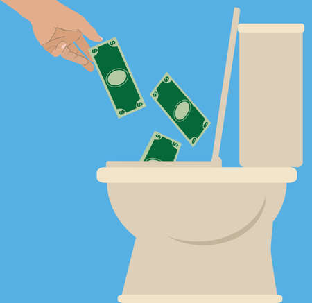 Someone is tossing currency into a toilet to be flushed