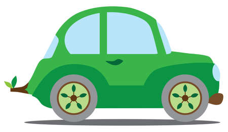 A flat vector cartoon green car is heading down the road