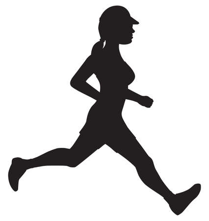 A female with a ponytail is jogging in silhouette 向量圖像