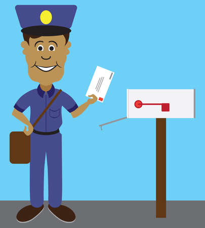 A flat vector cartoon mailman is smiling as he gets ready to deliver a letter