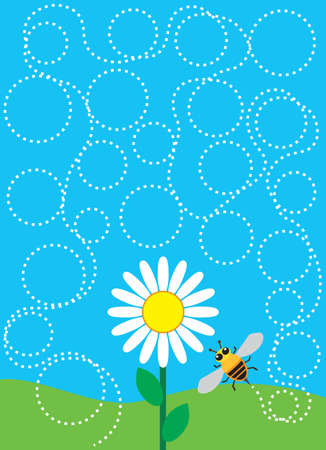 A bee is taking a winding route to a flower in order to pollinate it