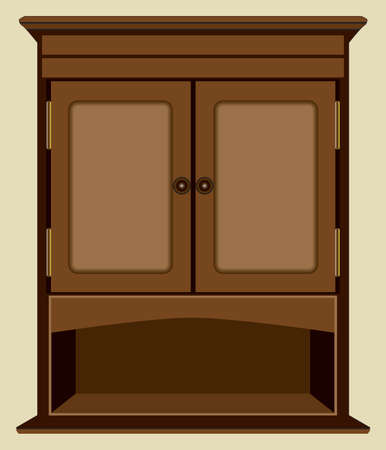 A decorative wall cabinet with a shelf is hanging against an interior wall