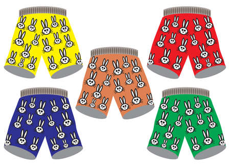 Five pairs of boxers shorts with a bunny design on them