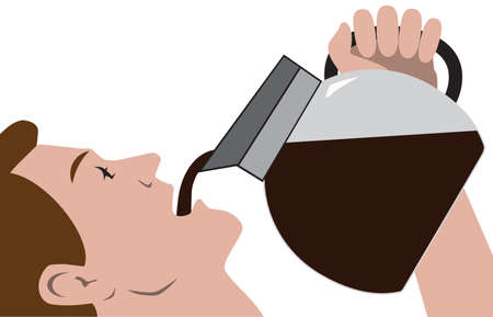 A man in a hurry for his morning coffee is drinking it straight from the pot