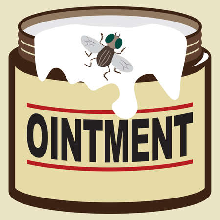 A fly is checking out some ointment that is running down the side of the jar 向量圖像