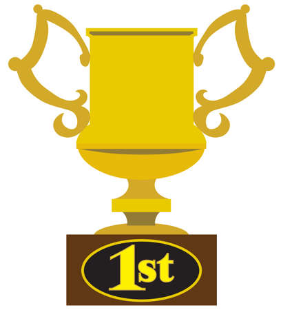 A gold flat vector first place trophy with handles