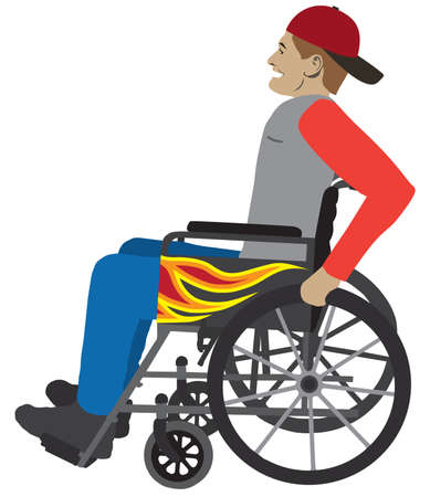 A young man in a wheelchair with flames on the side is rolling along