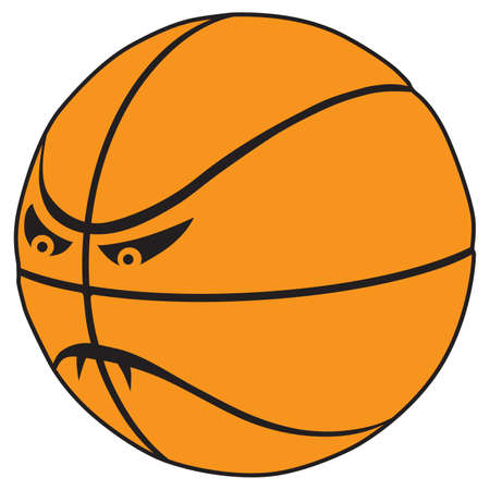 A fierce cartoon basketball with fangs is ready to play 向量圖像