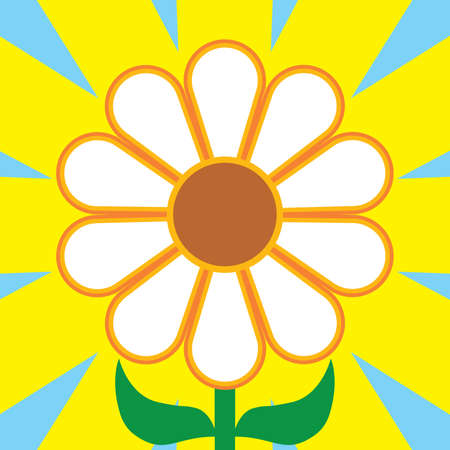 A flat vector flower is surrounded by the rays of the sun 向量圖像