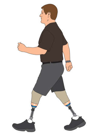 A man who has had both legs amputated below the knee is out for a walk
