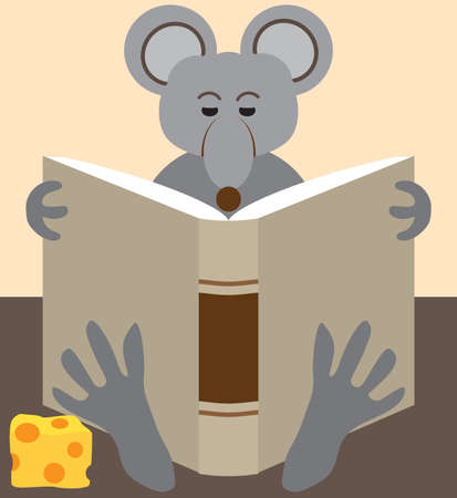 A cartoon mouse is relaxing with a snack and a good read