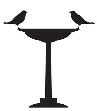 Two birds are sitting across from each other on a bird bath in silhouette 向量圖像