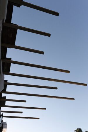 A close up view of new wooden battens that was been installed into a roof 版權商用圖片