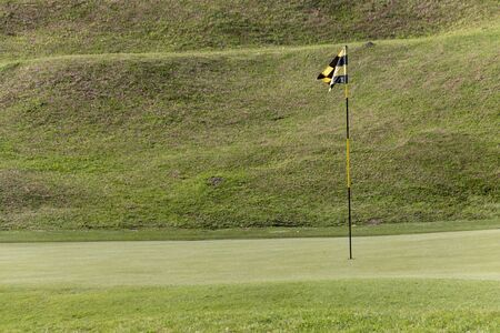 A close up view of a black and yellow flag pole, on the green at a hole on a golf course