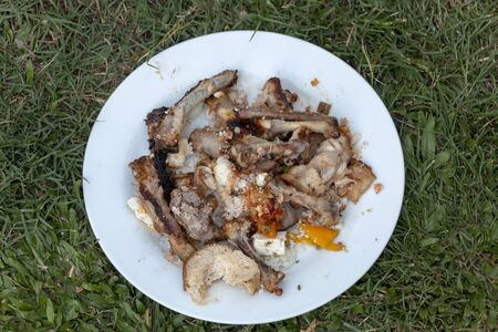 A close up view of leftover chicken and ribs bones from a good old south african braai
