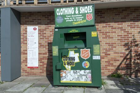 Bristol-March-2020-England-a close up view of a salvation army storage unit for shoes and clothes