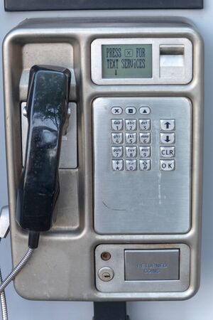 Bristol-May 2020-England-a close up view of a public coin pay phone  Imagens