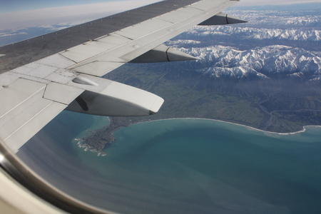 the height of a rim: Aerial photo of Kaikoura, New Zealand. Stock Photo