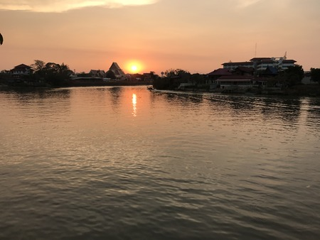 Sunset views along the river near Wat Phananchoeng (Buddhist temple in Phra Nakhon Si Ayutthaya province), Thailand.
