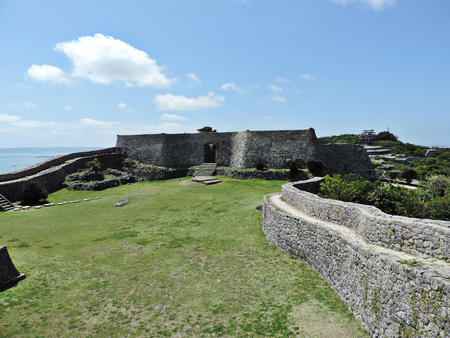 Gate of the stone wall at Nakagusuku-jo Site in Okinawa, Japan. Editorial