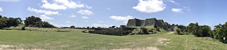 Panorama view of the stone wall at Nakagusuku-jo Site in Okinawa, Japan. Stock Photo