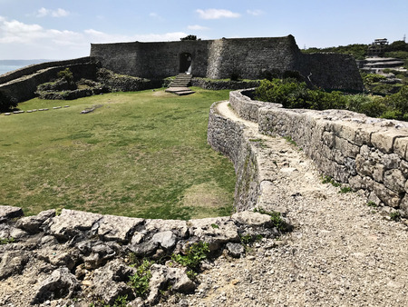 Gate of the stone wall at Nakagusuku-jo Site in Okinawa, Japan. Stock Photo