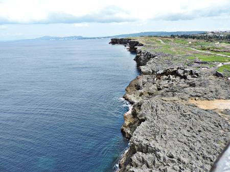 Scenery view surrounding Cape Zanpa Lighthouse in Okinawa, Japan.
