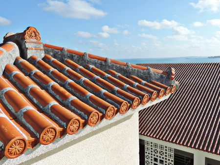 Outstanding red roof tiles in Okinawa, Japan. Reklamní fotografie